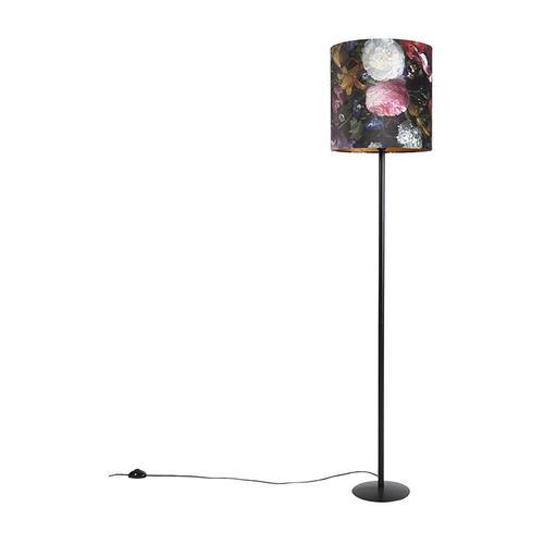 Stehlampe schwarz mit Veloursschirm Blumenmuster 40 cm - Simplo