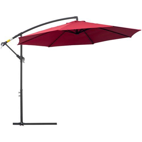 ® Sonnenschirm Ampelschirm abnehmbar Kurbelschirm mit Handkurbel Rot - rot - Outsunny