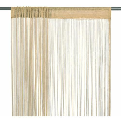 Fadenvorhänge 2 Stk. 100 x 250 cm Beige 01603 - Topdeal