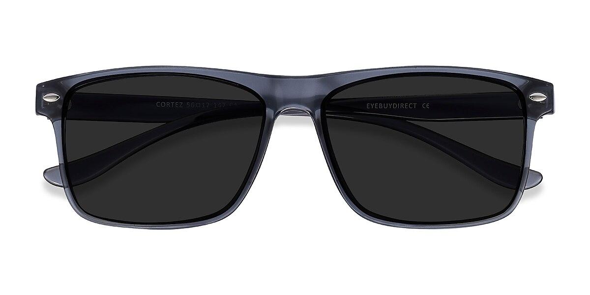 Male's Rectangle Gray Plastic Prescription sunglasses - EyeBuydirect's Cortez