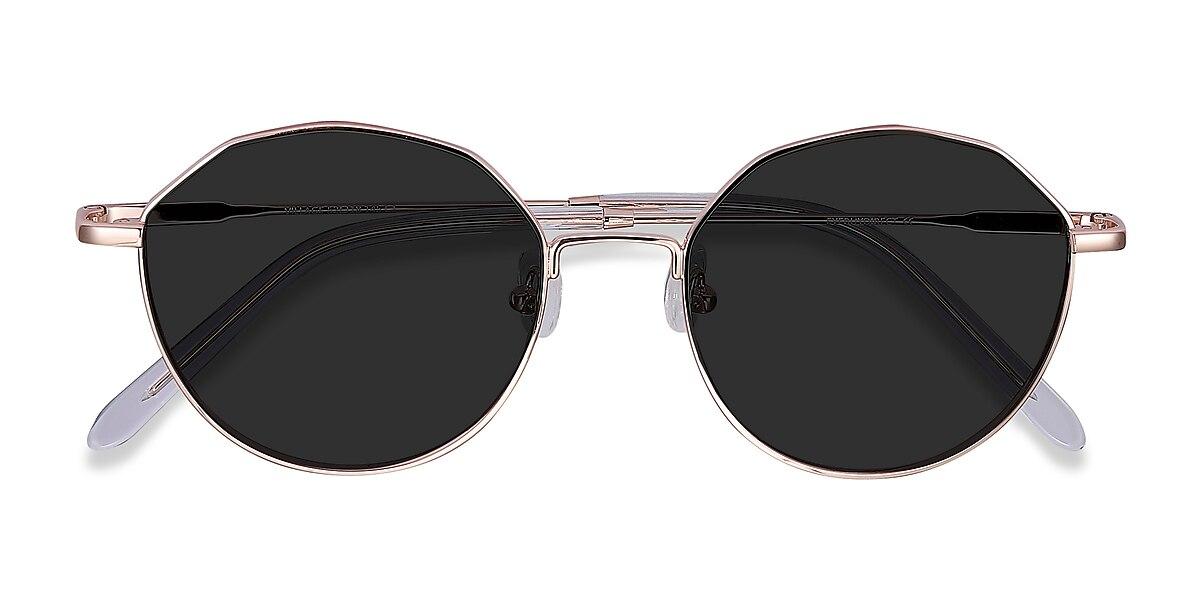 Unisex Geometric Rose Gold Metal Prescription sunglasses - EyeBuydirect's Village
