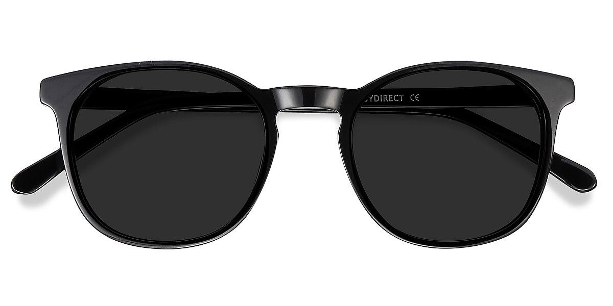 Unisex Round Black Acetate Prescription sunglasses - EyeBuydirect's Safari