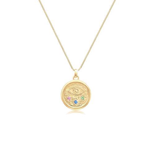 Halskette Evil Eye Kristalle Bunt 925 Silber Elli Gold
