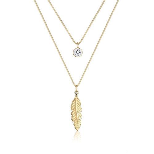 Halskette Feder Boho Kristalle 925 Silber Elli Gold
