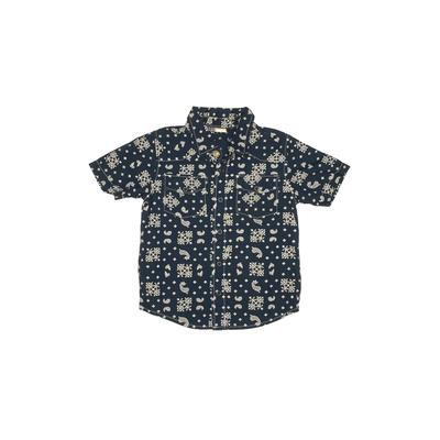 The Children's Place - The Children's Place Short Sleeve Button Down Shirt: Blue Print Tops - Size 4Toddler