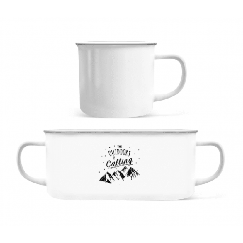 The Outdoors Is Calling - Emaille-Tasse