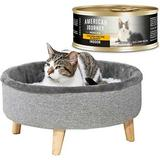 American Journey Indoor Minced Chicken Recipe in Gravy Grain-Free Canned Cat Food, 5.5-oz, case of 24 + Frisco Modern Round Elevated Cat Bed