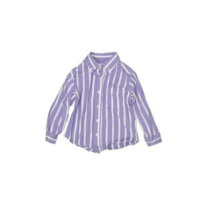 The Children's Place - The Children's Place Long Sleeve Button Down Shirt: Purple Print Tops - Size 3Toddler