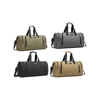 E1957 - Kono Canvas Barrel Duffle Travel Bag Green