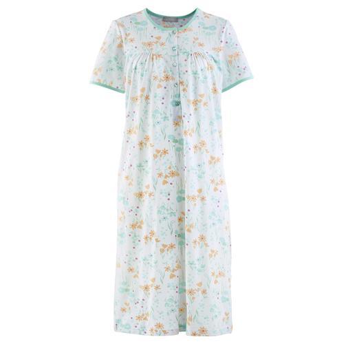 Avena Damen Baumwoll-Nachthemd Zarte Blüte Hellblau