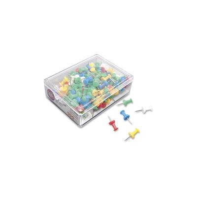 """""""Gem Office Products Push Pins - 0.4"""""""" Length - 100 / Box - Assorted - Plastic, Steel - GEMCP0A"""""""