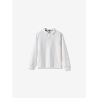 Jungen-Poloshirt aus Bio-Baumwolle mit langen Ärmeln weiß Gr. 116