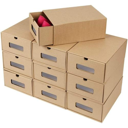 Schuhaufbewahrung Set, 10PCS Aufbewahrungsbox DIY Schublade Pappe aus Kraftpapier - Femor