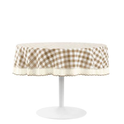 Buffalo Check Round Tablecloth - 70-in by Achim Home Dcor in Taupe
