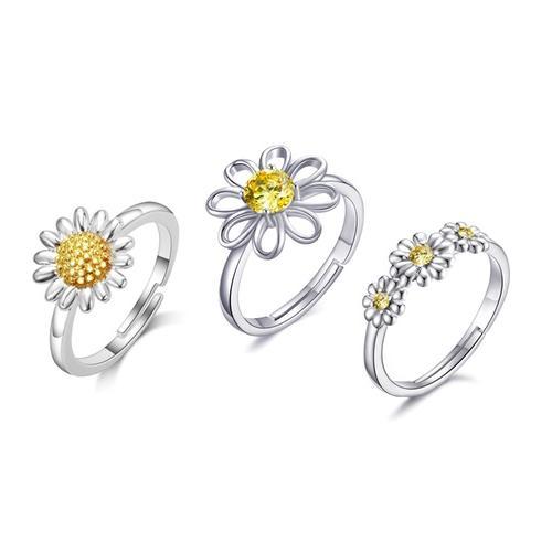 Philip Jones Ring: 2/ Zweifarbiges Gänseblümchen + Kristall-Gänseblümchen
