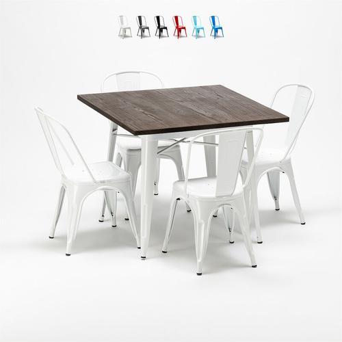 Viereckiger Tisch und Stühle aus Metall Holz Tolix Industrieller Stil Midtown | Weiß