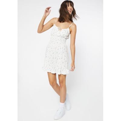 Rue21 Womens Ivory Floral Print Smock Waist Ruffle Trim Babydoll Dress - Size Xl