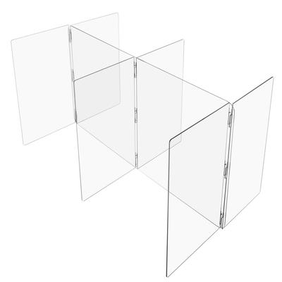 """""""Clear Plastic Compartment Divider w/ Rubber Bumper - 1/4"""""""" T x 24"""""""" H - For 72"""""""" x 60"""""""" Table - 30"""""""" W x 36"""""""" D Compartments with Closed Ends - 4 Person - USA Sealing - BULK-CPD-315"""""""