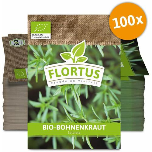 Flortus Werbesamentüten - Bohnenkraut (100 Tütchen) | BIO Bohnenkrautsamen von FLORTUS