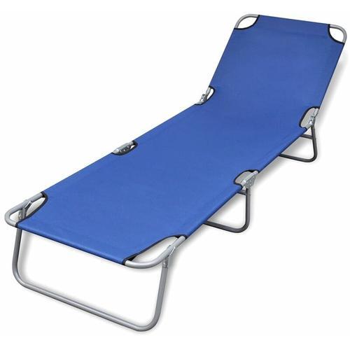 Klappbare Sonnenliege Pulverbeschichteter Stahl Blau