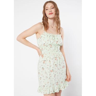 Rue21 Womens Mint Floral Print Smock Waist Ruffle Trim Babydoll Dress - Size M