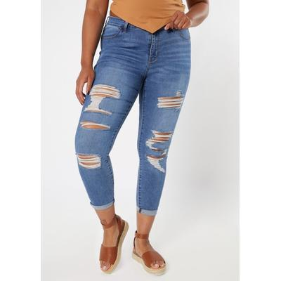 Rue21 Womens Plus Size Medium Wash Ripped Mid Rise Jeggings - Size 14