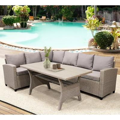 Veryke 3 Pcs Patio Dining Sets Outdoor, Outdoor Sectional Couch With Dining Table