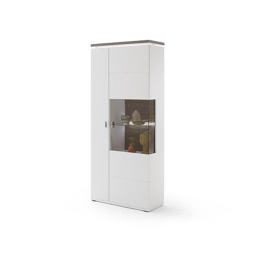 DELIFE Vitrine Bari 210x90 cm Weiss Matt LED Beleuchtung, Vitrinen