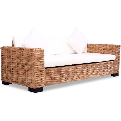 3-Sitzer-Sofa Natürliches Rattan