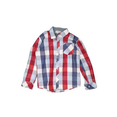 CRAFT + FLOW Long Sleeve Button Down Shirt: Blue Checkered/Gingham Tops – Size X-Small