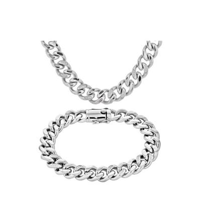 Forever New Silver Stainless Steel Cubic Zirconia Curb Link Necklace and Bracelet Set