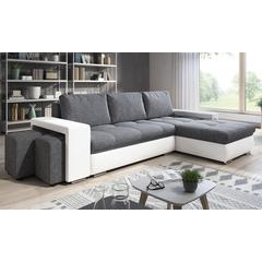 Canapé d angle convertible lit avec coffre de rangement + 2 poufs en tissu : Noir-gris