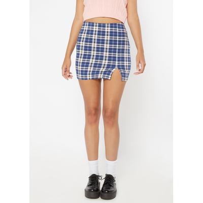 Rue21 Womens Dark Blue Plaid Print Thigh Slit Mini Skirt - Size L