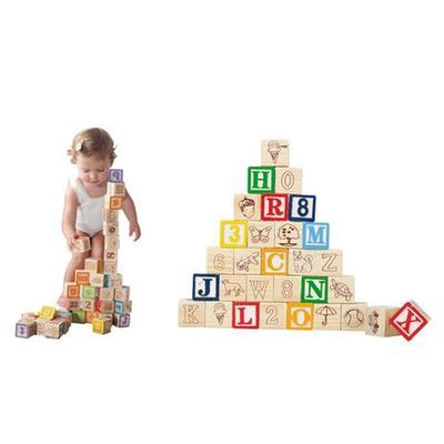 Set de 30 cubes en bois pour apprentissage des lettres chiffres symboles animaux et couleurs