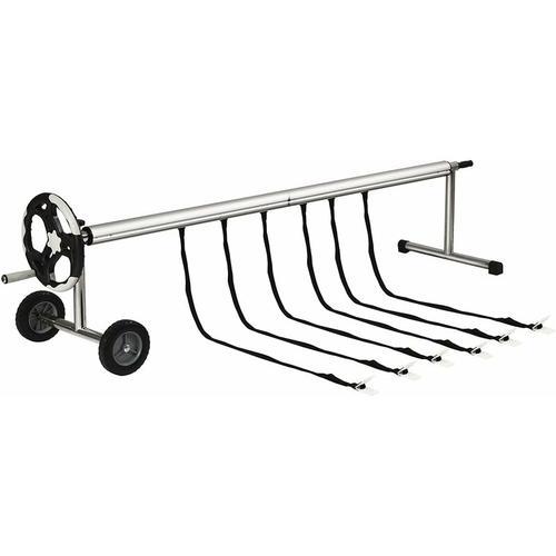 COSTWAY Pool Aufroller 4,9-6,4m, Aufrollsystem fahrbar, Aufrollvorrichtung aus Aluminium,