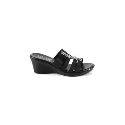Italian Shoemakers Footwear - Italian Shoemakers Footwear Wedges: Black Solid Shoes - Size 10