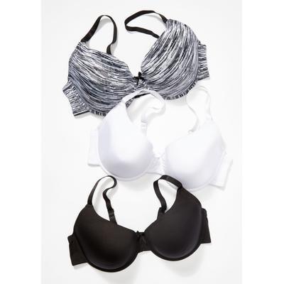 Rue21 Womens Plus Size 3-Pack Black Space Dye Print T-Shirt Bra Set - Size 38D