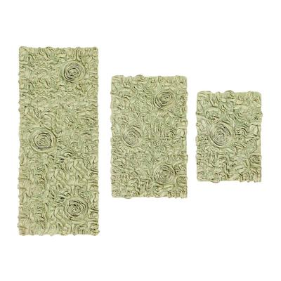 Bell Flower 3 Piece Bath Rug Collection by Home Weavers Inc in Green