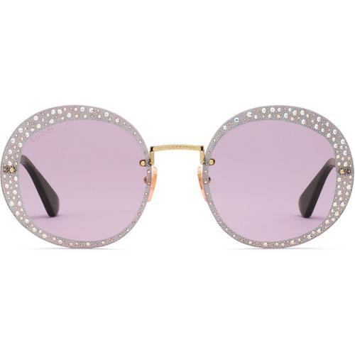 Gucci Sonnenbrille mit rundem Rahmen und Kristallen