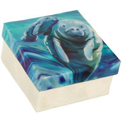 Coastal Home Manatee Capiz Shell Square Decorative Box