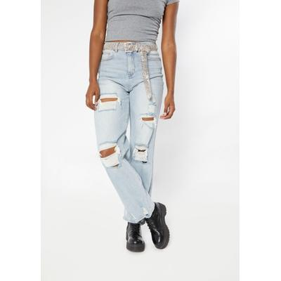 Rue21 Womens Light Wash Super High Rise Ripped Skate Jeans - Size 0
