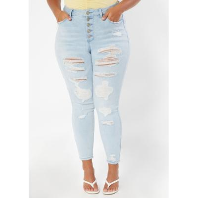 Rue21 Womens Plus Size Light Wash High Rise Exposed Button Curvy Destructed Jeggings - Size 24