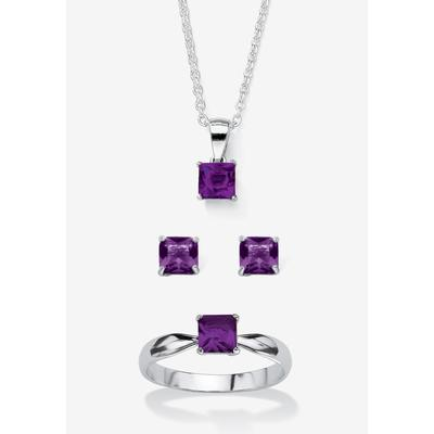 """Plus Size Women's Sterling Silver Simulated Birthstone Ring Earring and Necklace Set 18"""" by PalmBeach Jewelry in February (Size 9)"""