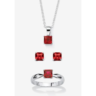 """Plus Size Women's Sterling Silver Simulated Birthstone Ring Earring and Necklace Set 18"""" by PalmBeach Jewelry in July (Size 9)"""