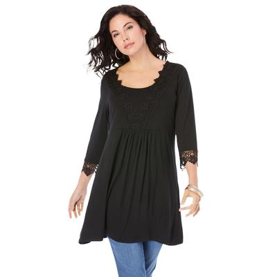 Plus Size Women's Lace-Applique Fit-and-Flare Ultra Femme Top by Roaman's in Black (Size 12)