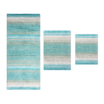 Gradiation 3 Piece Set Bath Rug Collection by Home Weavers Inc in Turquoise