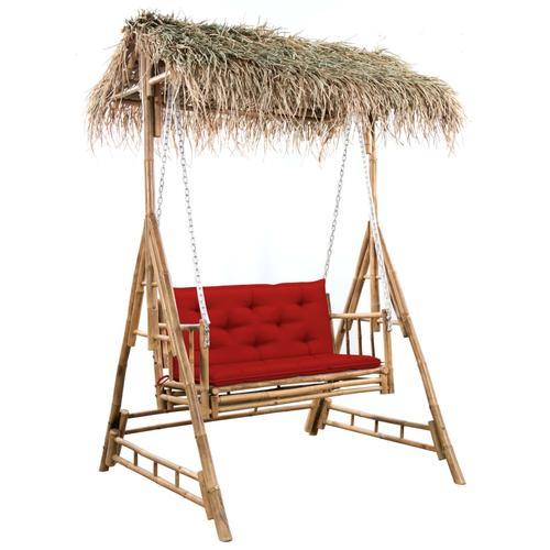 vidaXL Hollywoodschaukel mit Palmblättern und Kissen 202 cm Bambus