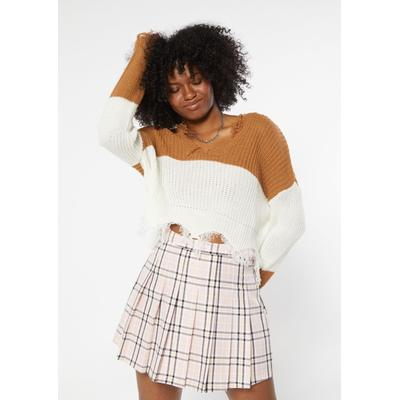 Rue21 Womens Camel Colorblock Destructed Hem Crop Sweater - Size S