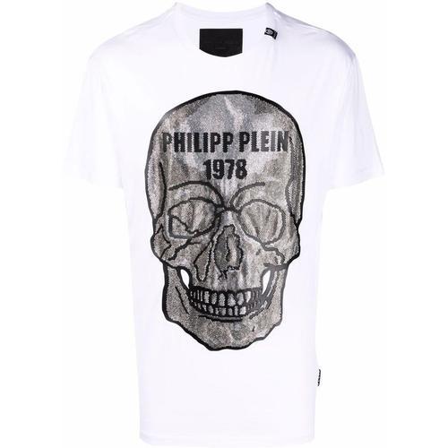 Philipp Plein T-Shirt mit Kristall-Totenkopf