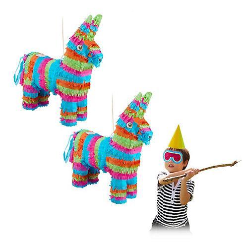 2 x Pinata Esel, Partypinata Kinder, Partydeko bunt, Schlagpinata zum Befüllen mehrfarbig